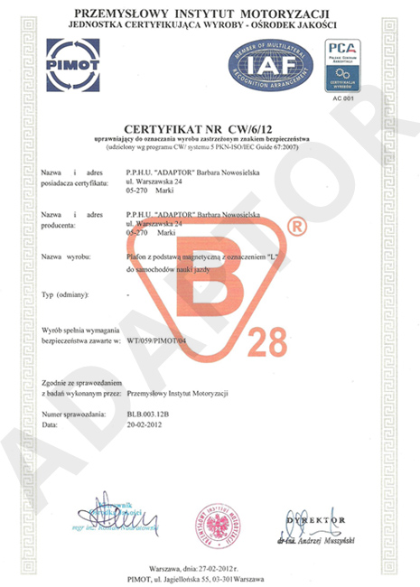 Certyfikat PIMOT Plafon